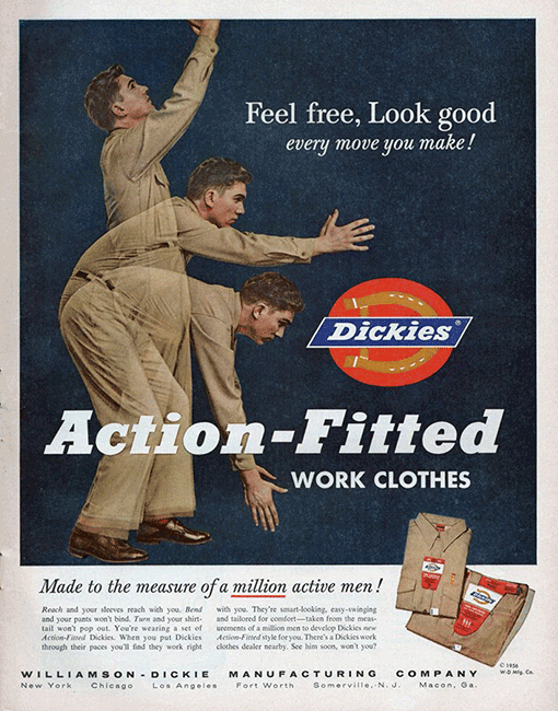 Action fitted work clothes
